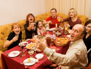 Happy family celebrating
