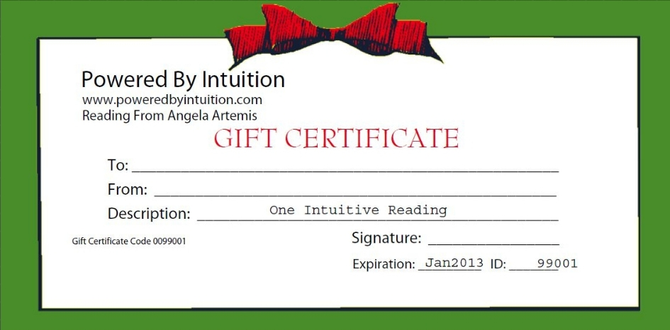 Powered by Intuition Holiday Gift Certificate