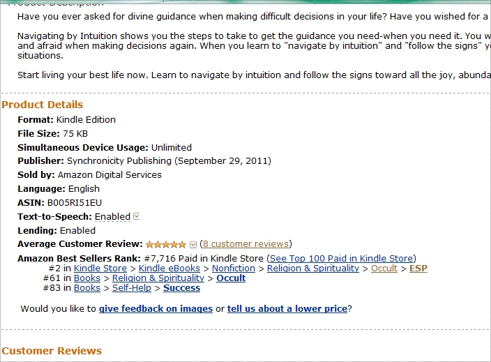 Navigating by Intuition, Amazon Best Seller, Amazon top 100 Paid Kindle Books