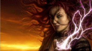 Witch with lightening