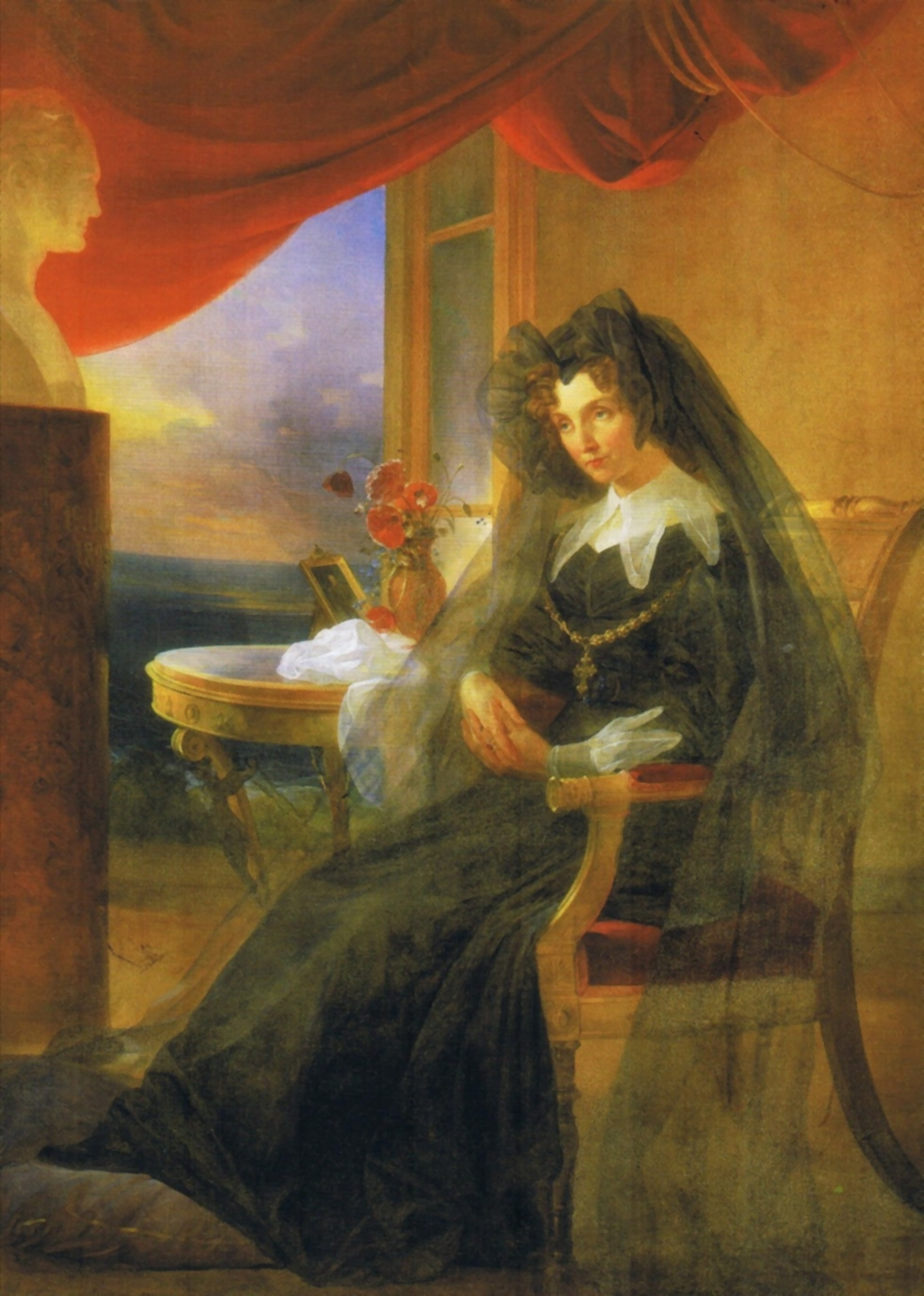 Portrait of Empress Elizabeth Alexeievna of Russia in Mourning
